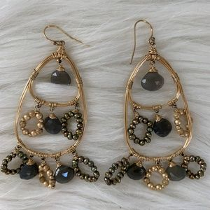 Boho gold ear-rings with gray stones